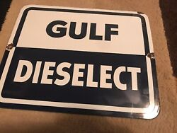 Vtg 50s 60s Gulf New Dieselect Porcelain Gas Pump Plate Sign Gas And Oil Station