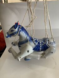 Chinese Blue White Ceramic Articulated Horse Marionette Puppet Rare