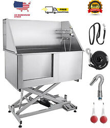 50 Inch Pet Dog Grooming Tub Electric Lift High Pressure Sprayer Stainless Steel