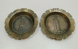 Lot 2 Vintage New York Empire State And Statue Of Liberty Brass Ash Tray Souvenir