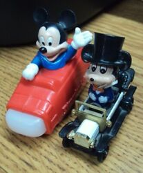 Vtg Lot/2 Disney Toys Mickey Mouse Space Mountain / Wdp Top Hat Antique Car Pd-9