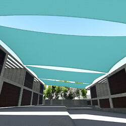 Turquoise 5-24ft Rectangle Waterproof Sun Shade Sail Garden Pool Patio Cover