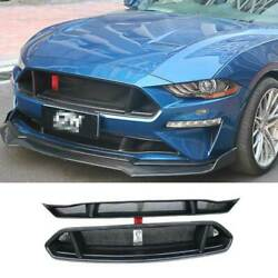 For Ford Mustang 2018-2021 Sevigny Primer Black Front Mesh Grille Grill Cover