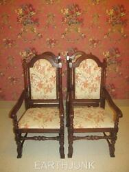 Ethan Allen Royal Charter Oak Upholstered Set Of 4 Dining Room Chairs 16 6011