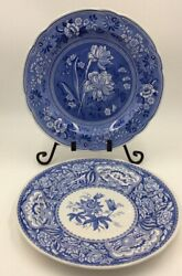 2 The Spode Blue Room Collection Floral Blue And White Dinner Plate England