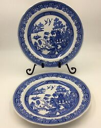 2 The Spode Blue Room Collection Willow Blue And White Dinner Plate England