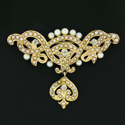 Antique 14k Gold .35ct Diamond Seed Cultured Pearl Dangle Long Watch Pin Brooch