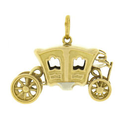 Antique 18k Gold Coach Carriage W/ Functional Wheels Collectible Charm Pendant