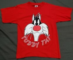 Sylvester The Cat Puddy Tat Looney Tunes Youth Xl Vintage Deadstock Red T Shirt