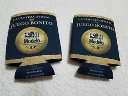 Modelo Beer Can Cozy Insulator Set Of 2 Navy And Gold