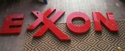 Vintage Large Plastic Exxon Gas Station Letters Sign- 28 Tall