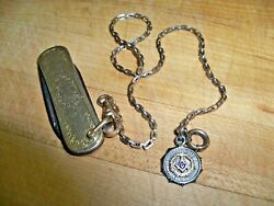 Vintage Gold Filled Pocket Knife With Chain And Masonic 10k Gold Charm
