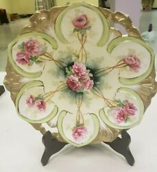 Antique Rs Prussia Germany Signed Decorative Floral Porcelain Plate W/handles
