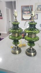 Vintage Beautiful Pair Of Mcm Hollywood Regency Lamps W/ Green Iridescent Globes