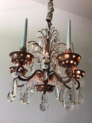 Antique French 1920 Crystal And Gilded Tole Bagues Chandelier In 18th Century