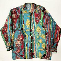 Coogi Silk Long Sleeve Shirt Size M Tops Made In Italy Multicolor