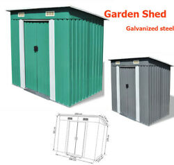 Outdoor Metal Storage Shed For Garden Tools Double Sliding Doors 2color Optional