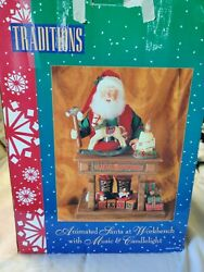 Vintage Santa At Workbench Animated Musical And Lighted By Traditions 20 Tall