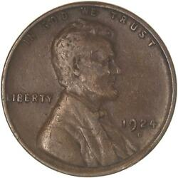 1924 D Lincoln Wheat Cent Very Fine Penny Vf