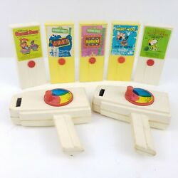 Vintage 1970s Fisher Price 2 Movie Viewers And 5 Cartridges Snoopy Disney