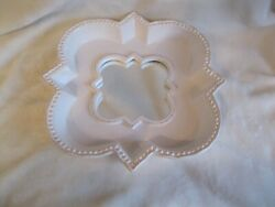 Partylite Villa Bianca White Ceramic Candle Holder Tray With Mirror