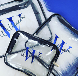 Personalised 3PC Clear Toiletry Cosmetic Transparent Set PVC Bags Travel Makeup $37.89