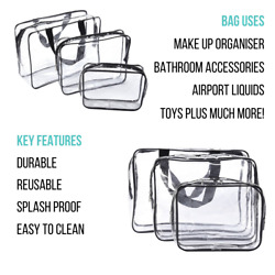 SML Clear Toiletry Cosmetic Transparent Set PVC Bags Travel Makeup Bag Pouch UK $12.63
