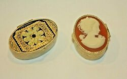 Group Of 2 Metal Pill Boxes Trinket Boxes - 1 Cameo And 1 Gilt Design