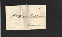 West Bloomfieldnew York1833 Stampless Cover With Letter Enclosed.