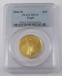 2006 W Burnished 25 American Gold Eagle Coin - Pcgs Ms70 Certification 16660876