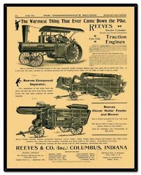Reeves Thresherman's Review 30 Heavy Duty Usa Made Metal Farm Advertising Sign