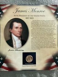 President James Monroe Coin And Stamp Panel Card 2008 One Dollar