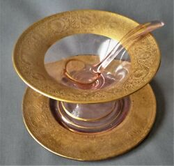 Antique Gold Etched, Pink Depression Glass, Cambridge Glass Mayo Set