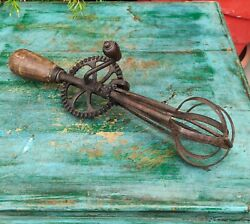 Antique Old Hand Forged Iron Handheld Mixer / Egg Beater Kitchen Utensil
