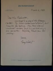 Cartoonist Bob Englehart Signed Letter To Fan On The Hartford Courant Stationary