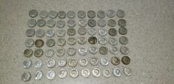 Lot Of 70 Us Kennedy Half Dollar Coins 40 Silver Various Dates