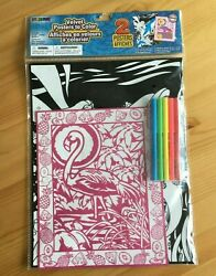 Furry Art Velvet Posters To Color One Flamingo, One Dolfin With Mermaid New In P