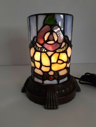 Vintagetiffany Style Votive Accent Lamp 7.5 Tall 6 Wide Floral Stained Glass