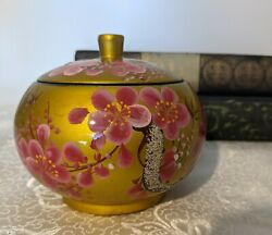 Japanese Lacquer Ware Round Wood Tea Box W/ Lid - Pink Blossoms Gold Background