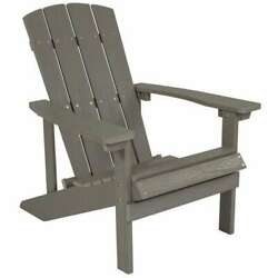 Adirondack Chair Stationary Outdoor Patio Furniture Solid Seat Gray Wood Frame