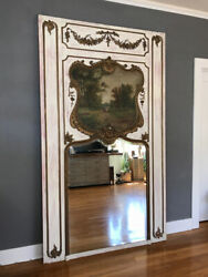 Antique Monumental Creme And Gilt French Trumeau Mirror With Landscape Painting