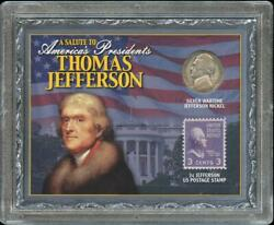 A Salute To Thomas Jefferson 1943-s Wartime Silver Nickel And 3 Cent Stamp Set