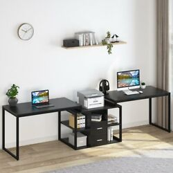 Extra Long Office Desk With File Cabinet And Open Shelves Black Double Workstation