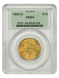 1902-s 10 Pcgs Ms64 Ogh Old Green Label Holder - Liberty Eagle - Gold Coin