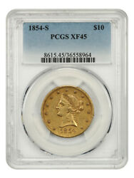 1854-s 10 Pcgs Xf45 - Liberty Eagle - Gold Coin