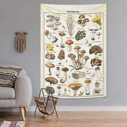 Mushroom Tapestry Vintage Tapestry Illustrative Reference Chart Tapestry Fungus