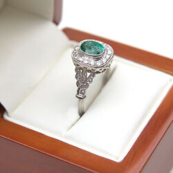 Emerald And Diamond Cluster Ring 18ct Gold Uk Handmade Fully Hallmarked