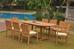 A-grade Teak 9pc Dining 94 Mas Oval Table Leveb Stacking Arm Chair Set Outdoor