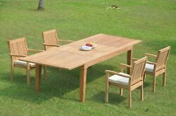 A-grade Teak 5pc Dining 122 Caranas Rectangle Table Leveb Stacking Arm Chair Set