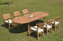 A-grade Teak 7pc Dining 118 Oval Table 6 Vellore Stacking Arm Chair Set Outdoor